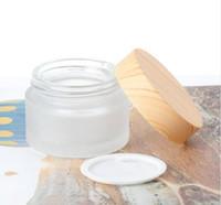 Frasco grande fosco de vidro 50g 60g 80g face creme frasco com madeira imitação de imitação gaxeta gaxeta body manteiga recipiente frasco fwb4964