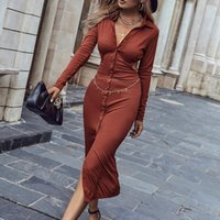 Casual Dresses Fashion Women V-Neck High-Waist Solid Color Shirt Dress Maxi Single-Breasted Waist Long Sleeve Slim Bodycon Sexy Party