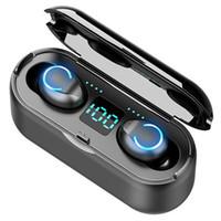 100pcs F9 미니 무선 헤드셋 블루투스 5.0 TWS 헤드폰 Hifi In-Ear 스포츠 아이폰을위한 헤드폰 실행