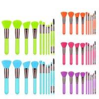 Beautiful 10pcs Fluorescent Color Makeup Brushes Professional Powder Foundation Eyeshadow Blending Beauty Make Up Eyebrow Brush Tools