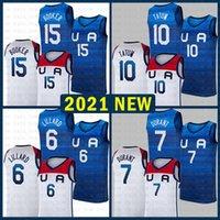 Basketball Jersey Team America 2021 Etats-Unis Tokyo Olympiques d'été Bleu Dark Bleu Damian 6 Lillard Kevin 7 Durant Jayson 10 Tatum Devin 15 Booker Lavande