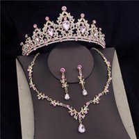 Earrings & Necklace Baroque Pink Crystal Bridal Jewelry Sets For Women Fashion Tiara Crown Bride Earring Prom Wedding Dress Accessories