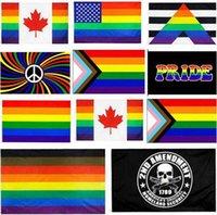 90x150cm Filadelfia Phily Phily Ally Progress LGBT Rainbow Gay Pride Bandera de EE. UU. Constitución estadounidense 2da Segunda Modificación Indicador WWA202