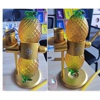 Forma de abacaxi 360 graus girando gravidade de vidro fumar bong recycler tubulação de água tigela shisha hookah kit tubulações tubulações debber fumaça tabaco erva