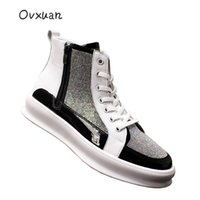 Boots OVXUAN Leather Hip Hop Men Rhinestones Patchwork High Top Mens Casual Designer Shoes Male White Sneakers Short Ankle