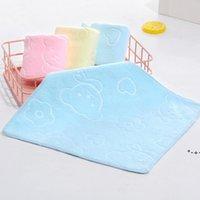 25 * 25 cm gospodarstwa domowego Mikrofibra Absorbenta Myjnia Twarz Ręcznik Infant Przedszkole Zagęścić wytłoczone kreskówki Niedźwiedź Drukowane ręczniki dla dzieci HWD9