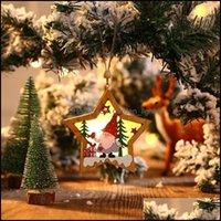 حدث آخر حزب احتفالي المنزل اللوازم الرئيسية gardenparty عيد الميلاد غابة المسنين مسنين قلادة خشبية مضيئة Xmax شجرة الحلي جولة خمسة بوانت