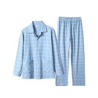 Aipeace 2 peças de algodão pijama masculino conjunto casual listrado manga longa lapela coleira de lapela sleepwear Primavera verão Homewear Nightwear 20126
