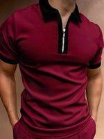 summer mix color lapel POLO tee shirts zipper short sleeve solid men's plus size T shirt top Polos