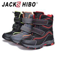 Bottes de neige d'hiver pour enfants Jackshibo Doublure chaude Chaussures Chaussures de promenade Garçons Coton Bottes étanches à l'eau Trekking Randonnée Chaussures H0828