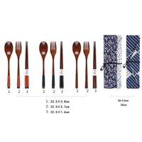 Палочки для еды японские винтажные портативные проволоки обернутые деревянные ложка вилка посуда 3 шт. Установите подарок синяя сумка