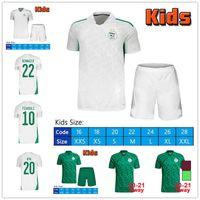 21/22 Algerie Maillot de Football Football Jerseys Jerseys Player Version 2 étoiles Home Blanc Mahrez Bounedjah Bouazza 19 20 Algérie hommes Kits Kids Kits Uniformes S-2XL