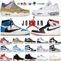 حذاء كرة السلة للرجال أبيض شراع ولدت Jumpman 4 4s أحمر ناري 1 1s Hyper Royal Court حذاء رياضي أزرق جامعة أرجواني مع صندوق تدريب