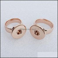 Wedding Rings Jewelry12Pcs A Lot Whole 18Mm Snap Buttons Ring Size 17 Fashion Rose Gold Metal Jewelry For Men Women 7 Drop Delivery 2021 Afe