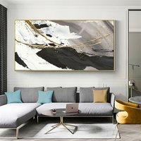 Dipinto a mano Pittura a olio Tela astratta Astratto in bianco e nero Gold Moderna Pitture acriliche Grande arte della parete per il soggiorno Decor 210310