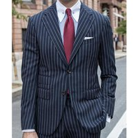 Men's Suits & Blazers Navy Blue Pinstripe Business Men For Wedding 2 Piece Formal Groom Tuxedo Male Fashion Clothes Set Jacket With Pants