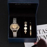 Armbanduhren 2021 Uhr Zonmfei Marke 3 Stück Frauen Armband mit blauer Geschenkbox Mode Edelstahl Bangle Smart Kleid Uhren