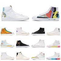 Blazer de qualité supérieure Mid 77 Vintage Platform Flat Casual Shoes Indigo Flyleather Ruohan Wang Racer Blue Infinite Kumquat Pride Chicago Designer Sneakers 36-45