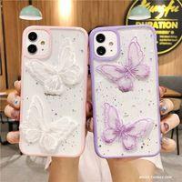 Cassa del telefono della farfalla viola del laser carino per iPhone 11 Pro Max XR X XS 7 8 Plus Scintillio Custodia in silicone trasparente Coque di silicone