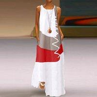 Boho Summer Prin Long Maxi Dress Women Sexy Tank Sleeveless Straps Evening Party Beach Dresses Holiday Wear Sundress 2021#xx