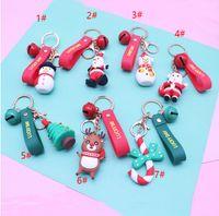 Merry Christmas Key Ring Christmas Pendant Santa Claus Elk Snowman Keychain New Year Decoration Children Xmas Jewelry Gift GWD10280