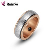 Cluster Rings RainSo 2021 Fashion Mens Hematite Magnetic Health Ring Stainless Steel Double Circle Wedding Band Jewelry For Women