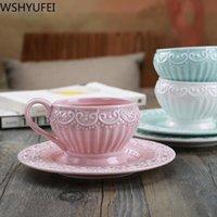 Nouveau princesse style dentelle flotte sculpture céramique tasse élégante vintage bureau tasse de café tasse tasse de thé buvant ensemble wshyufei