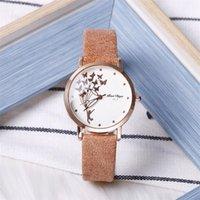 Designer Luxury Brand Watches Fashion Butterfly Kvinnor Es Simple Brown Quartz Vintage Läder Ladies Armister Drop Shipping Clock