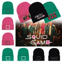 Squid Game Unisex Women Men Knitted Hat Winter Autumn Outdoor Party Hats Tide Hip Hop Caps Cuffed Beanies