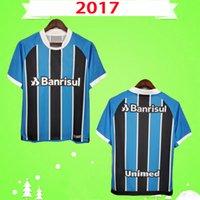 2017 rétro Gremio Soccer Jerseys Home Blue Black Vintage Vieille Chemise de football classique 17 18 Top Qualité # 7 Luan