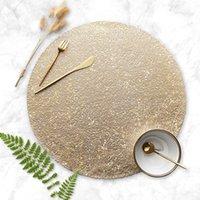 Северный стиль ПВХ настольный коврик утолщенная круглая сплетенная нескользкая изоляция Placemat золотое серебро простой