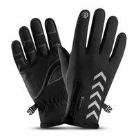 Winter Motorrad Männer Handschuhe Nacht Reflektierende Streifen Touchscreen Wasserdicht Anti-Rutsch Radfahren Skifahren Winddicht Flusen Warme Handschuhe