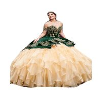 Luxury Green With Gold Appliques Quinceanera Dresses Mexican 2022 Off Shoulders Fluffy Ruffles Lace Up Sweet 16 Dress Party Birthday Princess Vestidos De 15 Años