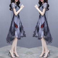 Chiffon Dress Short Sleeve Women's Floral Dress Summer Irregular Trend Dresses Fashion Casual Chiffon Ladies Dresses
