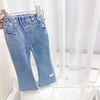 Frühling Herbst Kinderschmetterling Solid Denim Jeans Boot Cut Cut Pant Girls Ganzkörperhose