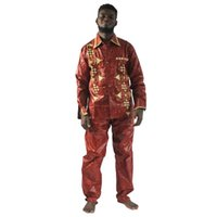 Ethnic Clothing South African Traditional Wear High Quality Bazin Riche Clothes For Men Shirt With Pants Suit Embroidery Style Tops
