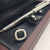 Manschette Metallberühmte Manschettenknopf Silber Karierte Kugelschreiber Schreiblieferant Business Office und Schulmode Pens Manschettenknöpfe Rote Holzkiste