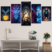5P 판타지 여우 및 사자 캔버스 그림 동물 머리 벽 아트 HD 인쇄 그림 룸 장식용 포스터 교수형