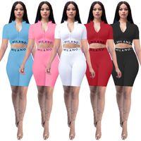 Yeni Seksi Bayan Kısa Kollu Suit 2021 Yaz Moda Saf Renk Ince Mektup Baskı Kısa Kollu Yoga İki Parçalı Spor Suit 5 Renkler