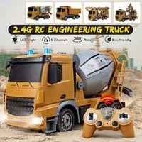 124 6 chaînes Voiture de télécommande de camion de camion d'ingénierie RC avec des lumières LED 2.4GHz Mélangeur Tanker Chanceuse Camion Camion Véhicule