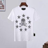2021 New Fashion Hombres PP Casual Casual Manga de manga corta Camiseta Calavera Calavera Calavera Creative Street Lujo Cinco estrellas Imprimir Top