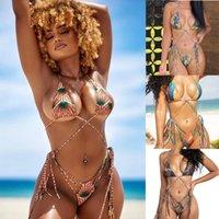 New European and American Bikini Digital Print Bandage Sexy Swimsuit Ladies Split Swimwear 0147