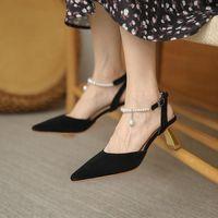 Dress Shoes Sandals Women 2021 Fashion High Heel Big Size Pointed Toe Pearl Buckle Femme Black Sandalias De Las Mujeres