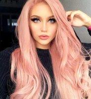 الوردي غلويليس ارتفاع درجة الحرارة الألياف شعري الشعر الطبيعي الباروكات لينة السويسري الأرجواني طويل متموجة الاصطناعية الدانتيل الجبهة الباروكة للنساء FZP143