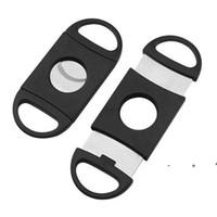 휴대용 시가 커터 플라스틱 블레이드 포켓 커터 라운드 팁 나이프 가위 수동 스테인레스 스틸 시가 도구 9 * 3.9cm FWA9084