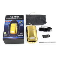 Kemei KM-TX1 ماكينة حلاقة كهربائية للرجال التوأم بليد للماء الترددية اللاسلكي الحلاقة usb قابلة للشحن آلة الحلاقة