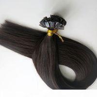 200g 1set = 200strands Плоские наконечники волосы предварительно связанные кератиновые наращивания волос 18 20 22 24 дюйма # 1b вне черных бразильских индийских реми