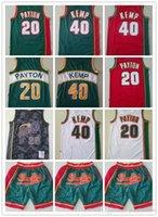 "Mens Seattle ""Supperononics"" Rembeback Gary 20 Payton Shawn 40 KEMP Баскетбольные шорты Баскетбол Майки с красным белым синим высоким качеством"