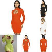 Fashion Women Bodycon Dresses Autumn Sexy Chest Hollow Out Long Sleeve Dress Solid Color High Waist Mid Length Skirt Clubwear