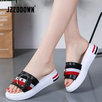 JZZDDOWN Frauen Hausschuhe flache Schuhe Frau Echtes Leder Strand Sandalen Damen Luxus Gürtel Plattform Slides Flip Flops Sommer 210226